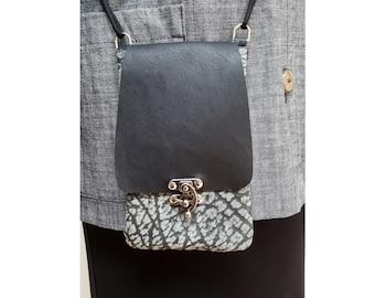 iPhone crossbody purse, holder, leather cellphone bag, case, phone holder, leather cell phone purse, grey black, adjustable straps, Engayla