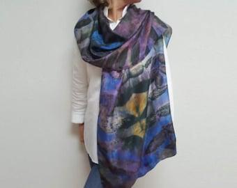 Blue purple eco dyed silk scarf, hand dyed, printed, rectangle, botanical, tree leaf print, black walnut imprint, blue, purple, Engayla.