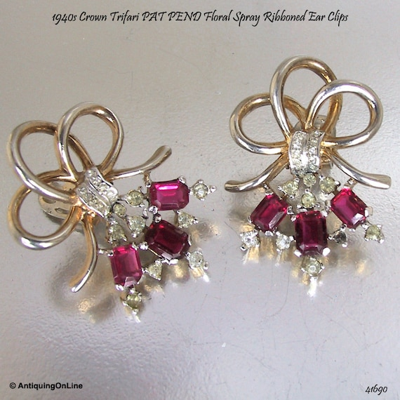 Trifari Earrings Red Clear Clips 1940s PAT PEND |
