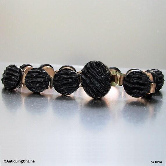 Victorian Crepe Stone Bracelet Mourning Jewelry Fr