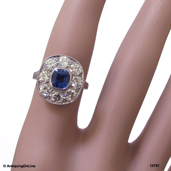 Art Deco Platinum Sapphire Diamond Engagement Ring Art
