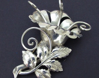 1940s Retro Sterling Flower Brooch, Gorgeous Large Retro Sterling Silver Flower Brooch, Vintage Sterling Silver Flower Brooch 26 grams
