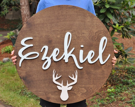 "36"" Round Wood Sign Personalized Name, Custom Nursery Decor,  Wall Decor, Baby Shower, Gift, Nursery Art, Bedroom Sign"