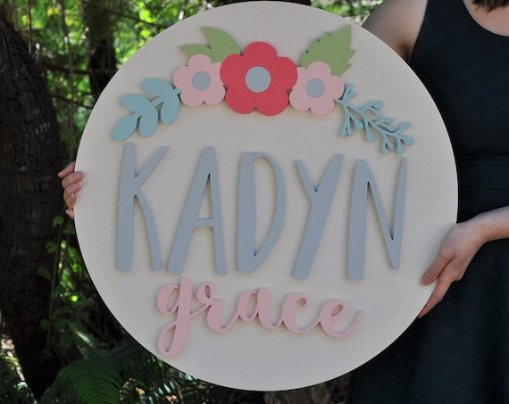 "Floral Nursery Name Sign - 3D Wood Sign - Round Sign - 24"" Round - Florals - Childs room/kids - Custom sign - Wooden Lettering"