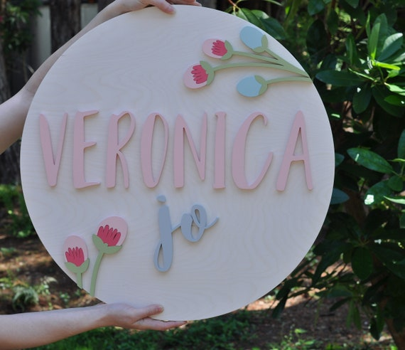 "Flower Nursery Name Sign - 3D Wood Sign - Round Sign - 24"" Round - Florals - Childs room/kids - Custom sign - Wooden Lettering"