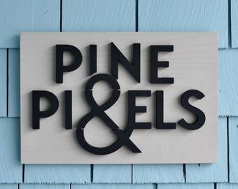 Enseigne sur mesure, mur signe au bureau, panneaux bois, décor de bureau, intérieur et extérieur Logo disponible, sur mesure, personnalisé,