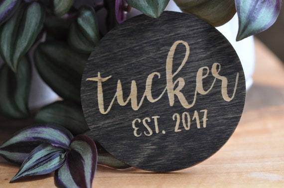 Wood Coaster Family Name, Engagement Gift, Established date, Engraved Coaster, Wedding Gift, Wooden, Personalized Family Name, Round Coaster