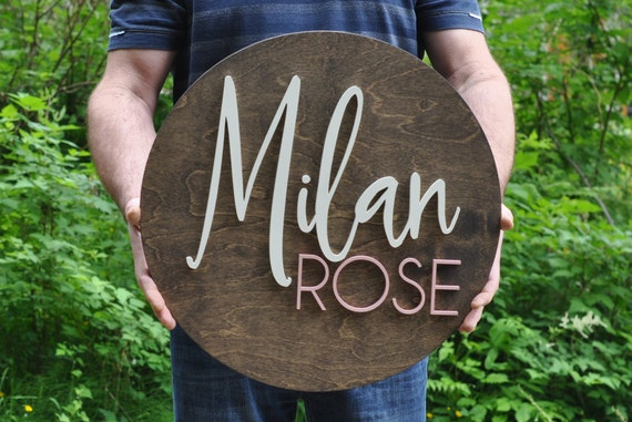 "20"" Round Name Sign, Custom Nursery Decor,  Circle Round -  Painted, Wall Decor, Baby Shower, Gift, Nursery Art, Bedroom Sign"