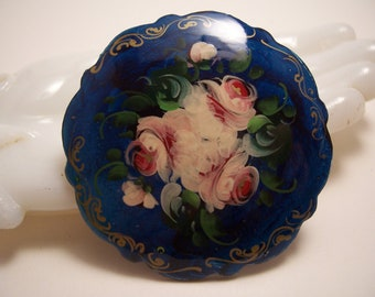 Vintage Hand Painted Flower Brooch Pin Signed