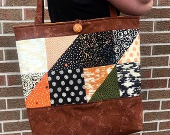 Skulls and spooky patchwork tote bag
