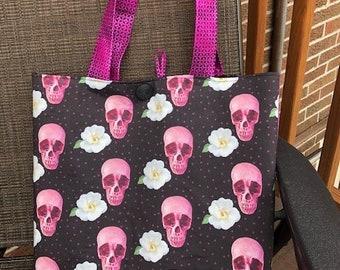 Purple Skulls and flowers Totebag
