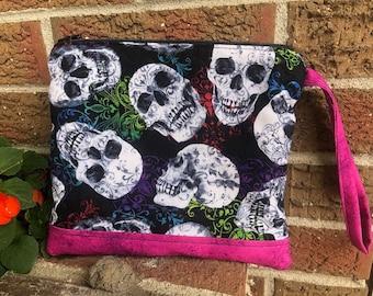 Skulls zipper pouch and wristlet