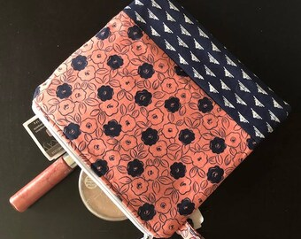 coral and blue floral zippered make-up bag