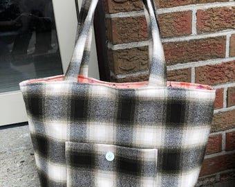 plaid tote bag, black and white plaid