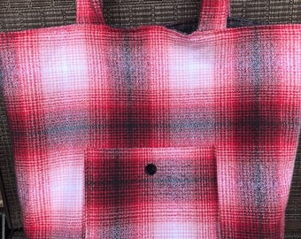Red and Black flannel tote bag