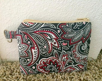 Black, Red, and White abstract design coin purse