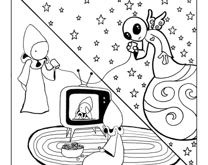 "Color Poppets - Large Coloring Poster (Digital Download)  ""Poppet Phones the Guardian Alien""  - Lisa Snellings and Robert Chisolm"