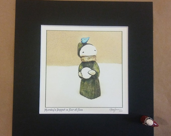 Monday's Child Winter Poppet - Matted Print, signed