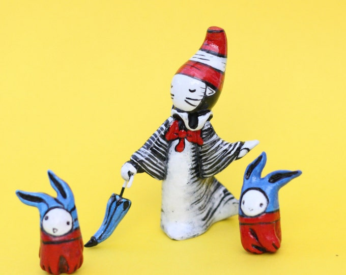 Poppet Plays Cat In The Hat- #8/25  Numbered Limited Edition set by Lisa Snellings