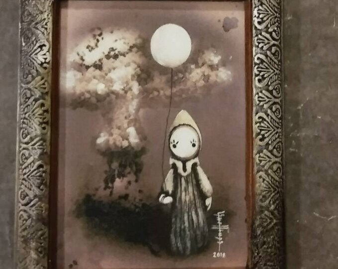 Mushroom Clown  - Framed Giclee  Print Limited Edition 26/150 - Lisa Snellings