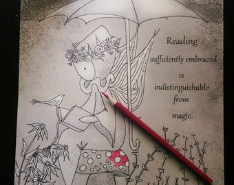 """Color Poppets - Coloring Page (Digital Download)  """"Reading is Magic""""  - Lisa Snellings"""