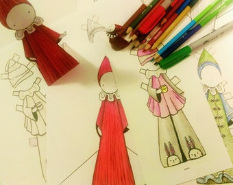 Color Poppets - Two Paper Poppets and Two Outfits - Digital Download