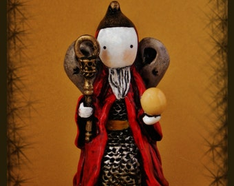 Tarot Poppet - The Emperor- Signed and Matted Mini Print 5 x 7