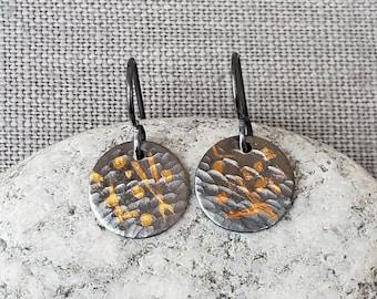 Keum-Boo Fine Silver Earrings - 24 Karat Gold - Dangling Silver Earrings - Silver and Gold Earrings - Hammered Silver Earrings - Keum Boo