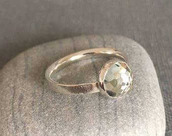 Prasiolite Ring - Size 7 - Green Amethyst Ring - Unique Engagement Ring - Prasiolite Engagement Ring - Green Ring - Rose Cut Ring - Modern