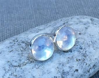 Opalite Quartz Earrings - Silver Quartz Earrings - Opalite Earrings - Rose Cut - Blue Shimmer Earrings - Quartz Earrings - Rose Cut Earrings