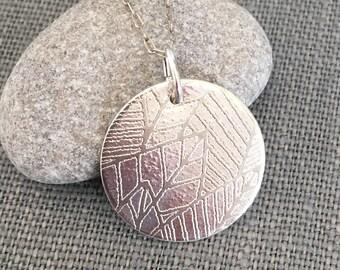 Silver Necklace - Silver Pendant - Leaf Pendant - Etched Necklace - Leaf Necklace - Silver Leaf - Circle Necklace - Modern Circle Necklace