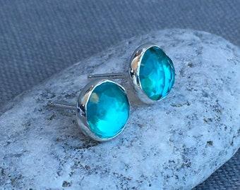 Paraiba Earrings - Silver Paraiba Earrings - Rose Cut Paraiba - Light Teal Earrings - Quartz Earrings - Aqua - Rose Cut Earrings - Studs