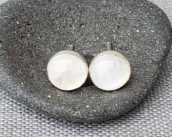 Moonstone Earrings - Silver Moonstone Earrings - White Moonstone - Moonstone Studs - Modern Silver Earrings - Minimalist Moonstone