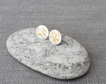 Keum-Boo Fine Silver Earrings - 24 Karat Gold - Silver Stud Earrings - Silver and Gold Earrings - Hammered Silver Earrings - Keum Boo