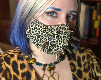 Leopard Spiked 'Face Mace' Mask