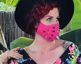 Hot Pink Spiked 'Face Mace' Mask