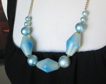 Beaded Statement Necklace, Draping, Light Blue, Large Beads, Lucite, Goldtone, Handmade, Vintage Beads