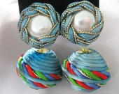 Button Ball Drop Earrings, Wrapped, Pearls, Satin Ribbons, Blue, Red, Green, Large Balls, Clip on Ears, Unique jewelry, Vintage 1970s