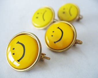 Emoji Happy Face Sad Face Earrings. Smiling Faces, Yellow, Clip On, Goldtone, Yellow Smily Face, Yellow Sad Face, Emojis