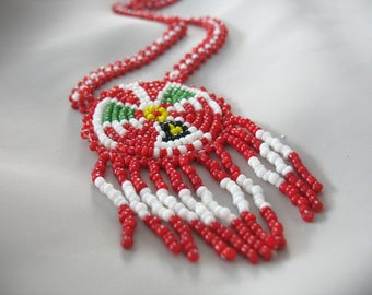 Beaded American Indian Necklace, Fringed, Souvenir, Phoenix Bird Design, Red and White, Beaded chain, Large Pendant Focal, 1970s