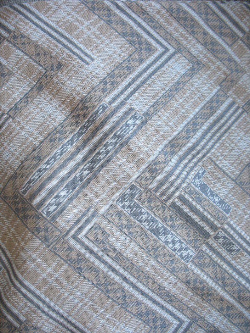 Vintage 1970s Sewing Fabric Striped Tan 66 Wide Chevron Herringbone 5.5 Yards Geometric Polyester Knit Fabric Gray and White