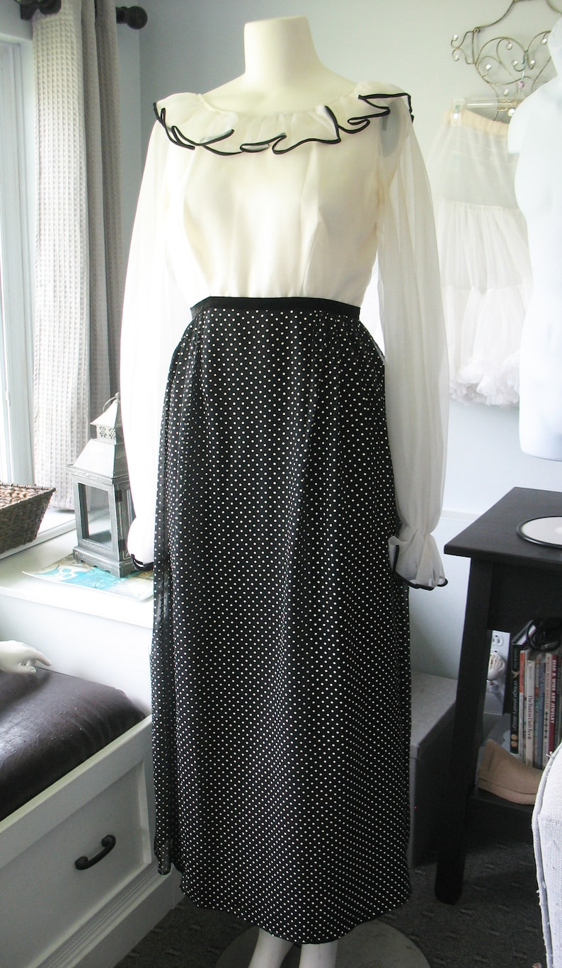 Nadine Polka Dot Maxi Dress Ruffled Collar and Sleeves Black image 0