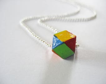 Rainbow Cube Necklace, Wooden, Geometric Cube, Silver Ball Chain, Hand Painted, Pride, LGBTQ