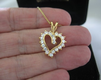 CZ Heart Pendant and stud Earrings 18k yellow gold over Sterling Silver