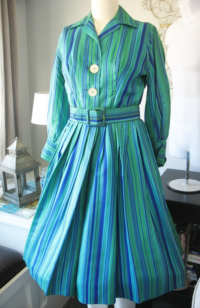 1950s Silk Shirt Dress Mary Sachs Betty Lane Original Striped image 0