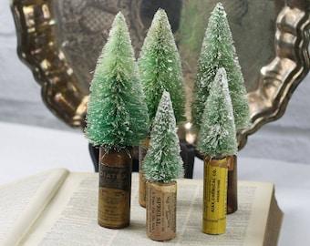 Vintage Style Bottle Brush Tree in Antique Pill Bottle