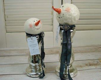 Original Hand Sculpted Snowman  Ornament Vintage Mercury Glass Mixed Media Assemblage