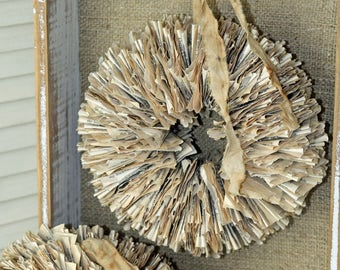 """Bookpage Wreath 10"""" Handmade from Vintage Torn and Tattered Book Pages"""