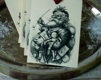 Large Christmas Gift Tag Set of 6 Victorian Santa Image Hang Tags Vintage Style Tags Long Pipe Santa