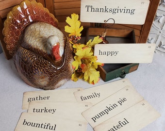 Thanksgiving Flash Cards Distressed Vintage Style Set of 9 Large Size happy blessings grateful pumpkin pie family bountiful turkey gather